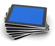 Stack of generic tablets, 3d render Royalty Free Stock Photos