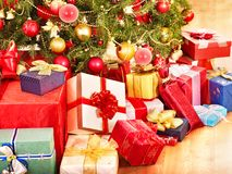 Stack of  gift box by Christmas tree. Stock Images