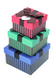 Stack of Gift Boxes. On White Background Stock Photography