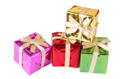 Stack of gift boxes on white Stock Images