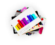 Stack of gift card designs for all people, white background Royalty Free Stock Images