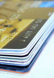 A stack of gift cards and credit cards Stock Photos