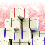 Stack Of Giftboxes With Bokeh Background Stock Photography