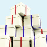 Stack Of Giftboxes With Sky Background Royalty Free Stock Images