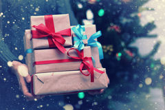 Stack of gifts for Christmas holidays Royalty Free Stock Images