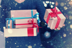 Stack of gifts for Christmas holidays Royalty Free Stock Photos