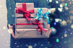 Stack of gifts for Christmas holidays Stock Images