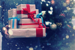 Stack of gifts for Christmas holidays Stock Image