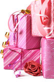 Stack of gifts close-up Royalty Free Stock Photos