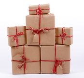 Stack of gifts Kraft Royalty Free Stock Photos