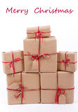 Stack of gifts Kraft Stock Images