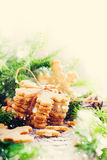 Stack of Ginger Cookies Snowflakes tied up by a Rope. Drawn Snow Stock Photography