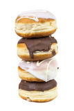 Stack of glazed and chocolate donuts Stock Photography