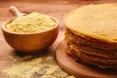 Stack of gluten free pancakes made from corn flour . Royalty Free Stock Photography
