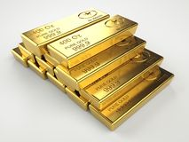 Stack of gold bars. On gray background Stock Images