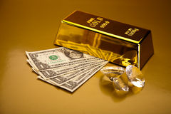 Stack of gold bars, ambient financial concept Stock Images