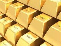 Stack of gold bars background Stock Images
