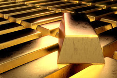 Stack of gold bars 3d render in high contrast dark room close up shot Stock Images