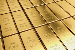 Stack Of Gold Bullion's Fine Gold. A yellow precious metal, the chemical element of Stock Photography