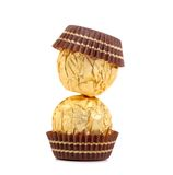 Stack of gold chocolate bonbons. Stock Images