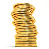 Stack of Gold Coin. 3d image of stack of gold coin against white background Royalty Free Stock Photography
