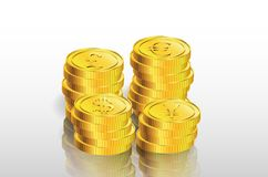 Stack of gold coin on  Royalty Free Stock Images