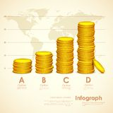 Stack of Gold Coin. Illustration of stack ok gold coin on world map backdrop Royalty Free Stock Photos