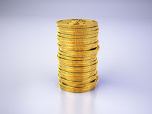 Stack of gold coins. On gray background Stock Images