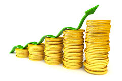 Stack of gold coins with arrow reaching higher Stock Photo