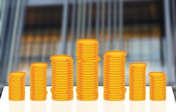 Stack of Gold Coins Currency in front of office Royalty Free Stock Image