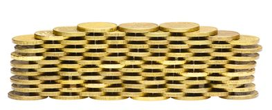 Stack of gold coins isolated on white Royalty Free Stock Photography