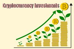 Stack of gold coins like growth graph with bitcoin. Finance Growth and cryptocurrecy investments concept. Vector illustration of bitcoin digital cryptocurrency Royalty Free Stock Photo
