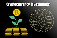 Stack of gold coins like growth graph with bitcoin. Finance Growth and cryptocurrecy investments concept. Vector illustration of bitcoin digital cryptocurrency Stock Images