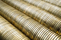 Stack of gold coins. Macro close up bstract background more money good life Stock Images
