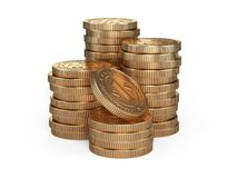 Stack of gold coins. Money award concept. Royalty Free Stock Photography