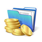 Stack of gold coins next to folder with documents Stock Image