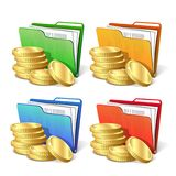 Stack of gold coins next to folder with documents. Stack of gold coins next to the folder with documents, symbol of a successful business project, vector Stock Photography
