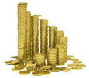Stack of gold coins. Render on a white background Stock Photography