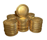 Stack of gold coins with the symbol of the ruble on the isolated background Royalty Free Stock Photography