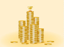 Stack of gold coins with the trophy cup. The trophy is standing on coins. Vector illustration Stock Image