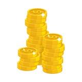 Stack gold dollars isolated cartoon Stock Photos