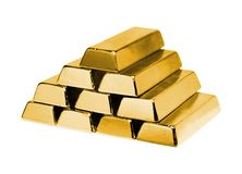Stack of gold ingots Royalty Free Stock Photos