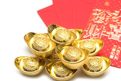 Stack of gold ingots and Blessing word Stock Photography