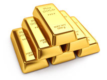 Stack of gold ingots Stock Image