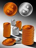 Stack of gold and silver coins Royalty Free Stock Image
