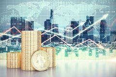 Cryptocurrency and trade concept. Stack of golden bit coins on abstract forex chart city background. Cryptocurrency and trade concept. 3D Rendering Royalty Free Stock Photos