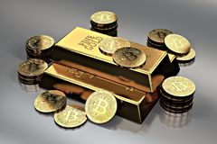 Stack of Golden Bitcoins around gold bar bullion bar. Bitcoin as a future gold most precious commodity in the world. 3D rendering Vector Illustration