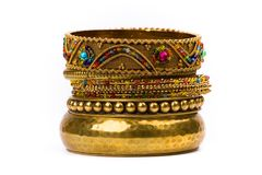 Stack of golden bracelets Stock Image