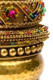 Stack of golden bracelets Royalty Free Stock Photography