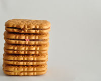 Stack of golden brown biscuits Stock Images